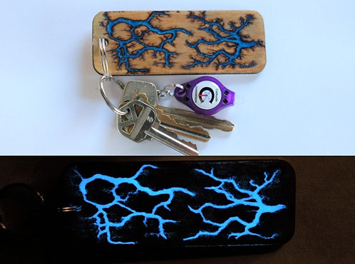 Glow-In-The-Dark Personalized Captured Lightning Keychain: Opposites Attract