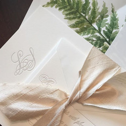 Sneak peek of this lovely taupe letterpress suite for a _hallandwebb bride