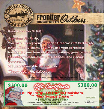 Frontier Outdoors Gift Certicate