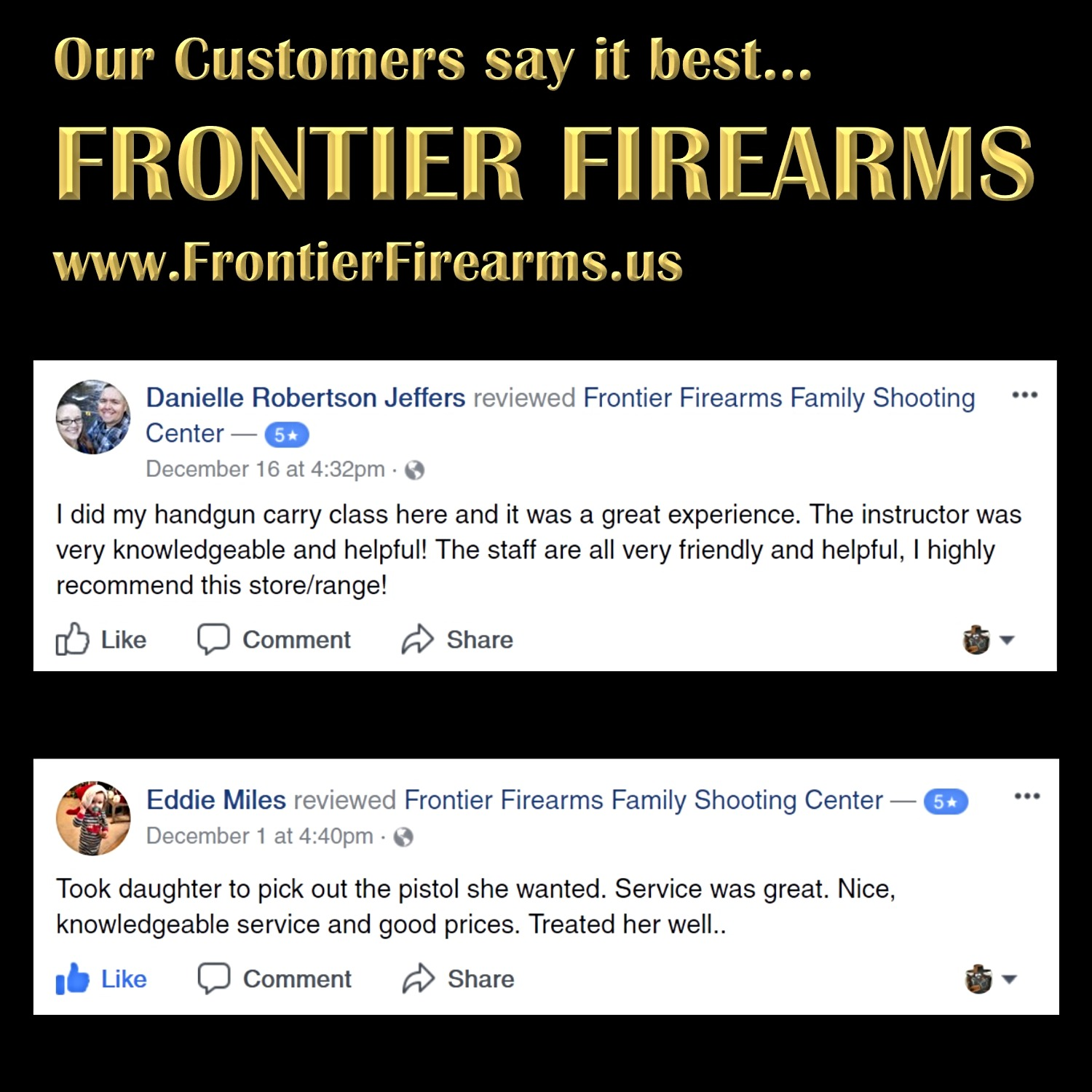 Frontier Firearms has the best customers