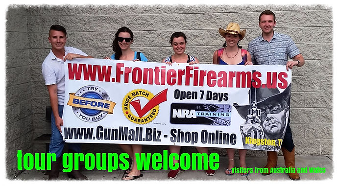 Tourists from all over the world visit Frontier Firearms in Kingston, TN  where they rent guns and shoot in our modern, clean indoor shooting range.
