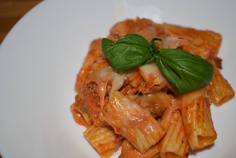 Belly-filling baked ziti with basil.