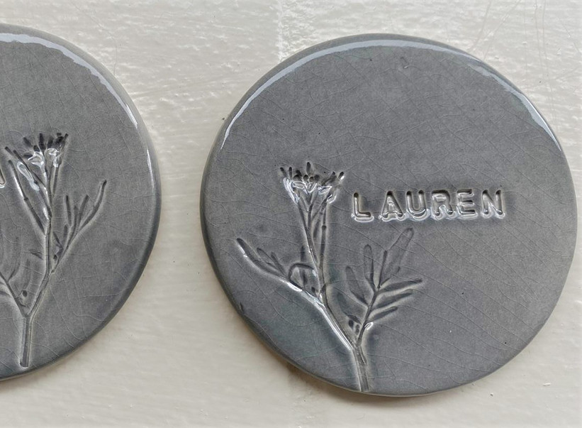 Hand embossed coasters with foliage.