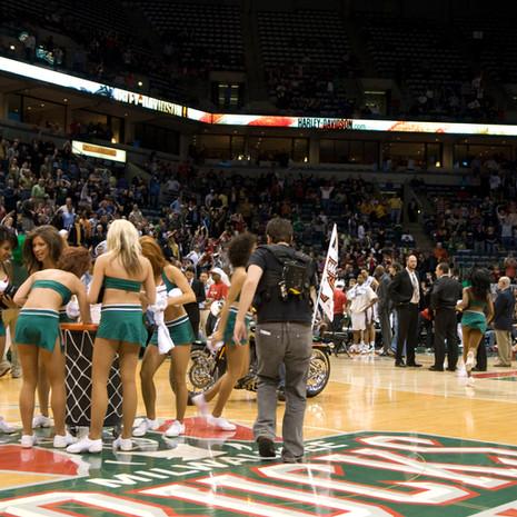 milwaukee bucks giant basketball hoop basket