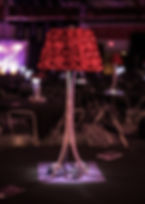 Red Rosette Lamp Centerpiece Event Renta