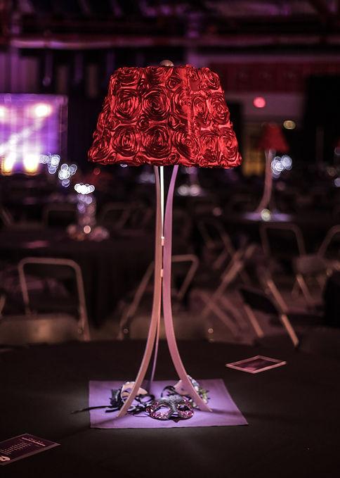 Red Rosette Lamp Centerpiece Event Renta
