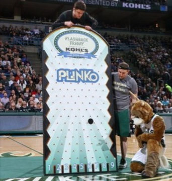 giant plinko milwaukee bucks game bango