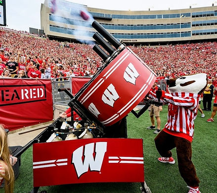 wisconsin madison bucky badger t shirt t-shirt triple barrel gatling gun