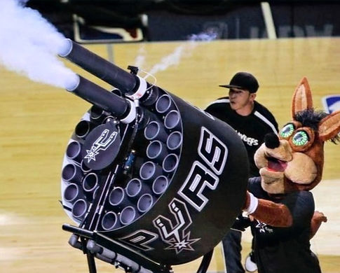 nba spurs coyote double barrel t-shirt t shirt gatling gun cannon
