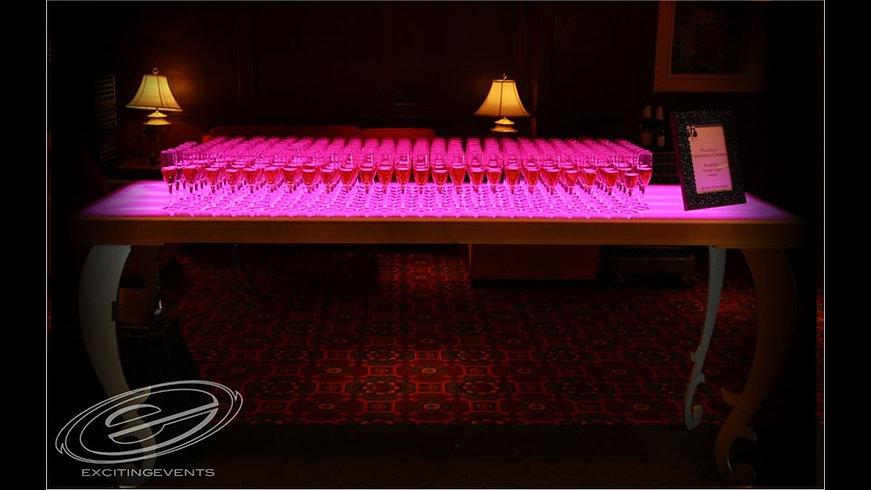 Scalloped Leg Acrylic LED Table Rental.J