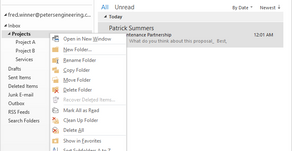 Outlook: Automatic Indexing & Storage of Email