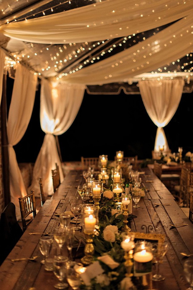 Create dreamy receptions by adding fairy lights and adding candle and lots of it