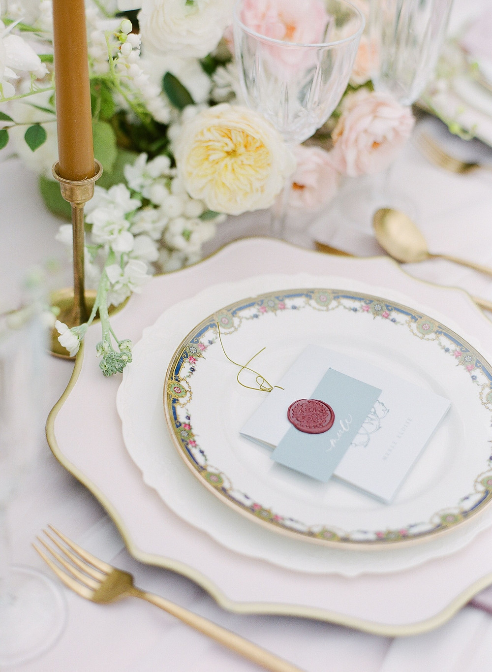 Layered china, detailed stationery with wax seal