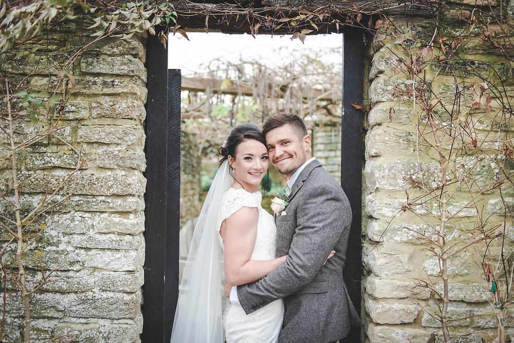bride and groom in doorway