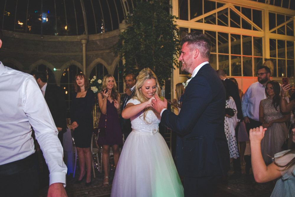 bride and groom first dance wedding reception tortworth court orangery
