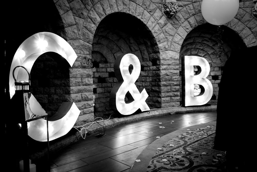 C & B illuminated letters