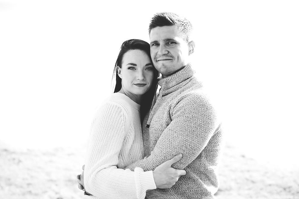 black and white couple portrait