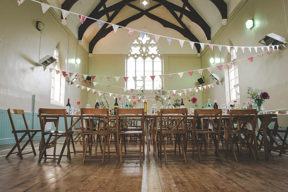 Village hall wedding decoration