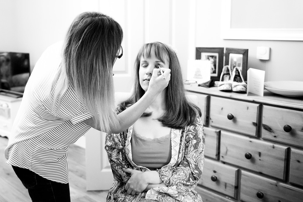 Bridal prep - make up being done