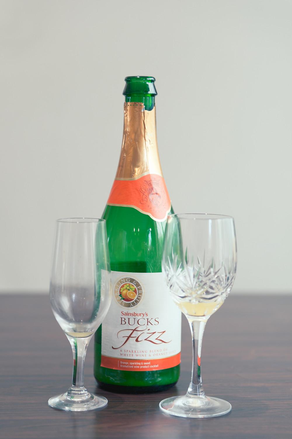 empty bottle of bucks fizz