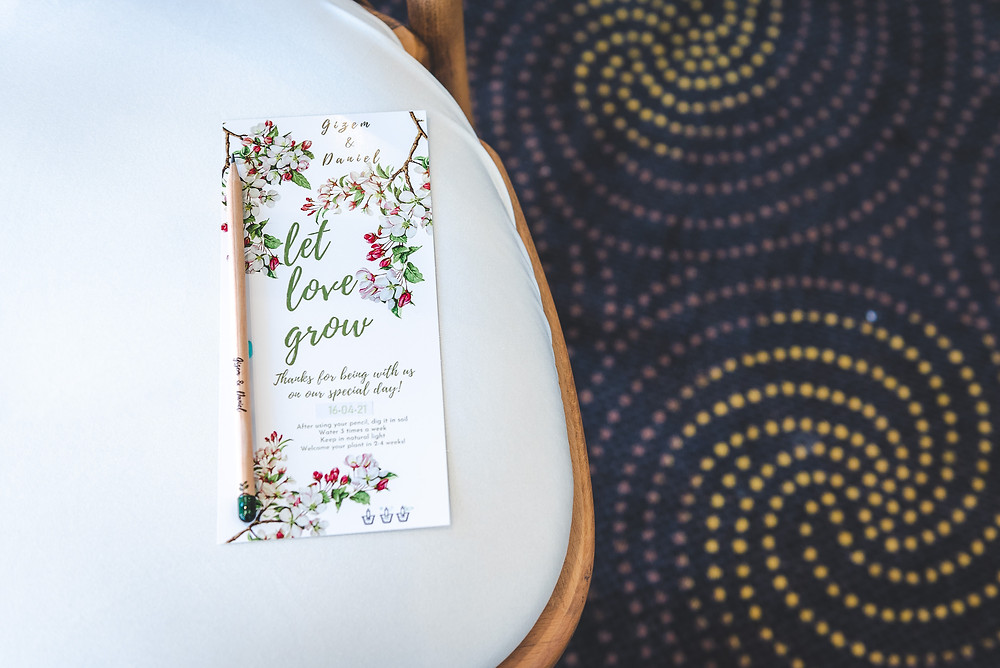 pencil you can plant wedding favour on chair