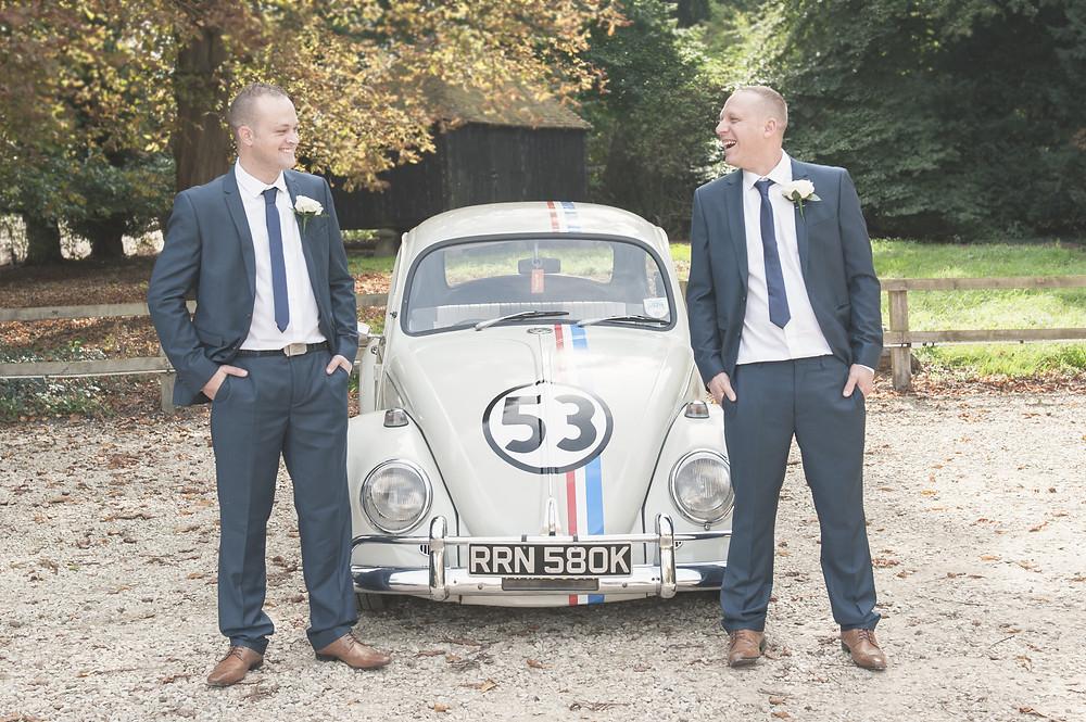 Groom arrives in Herbie, The Love Bug