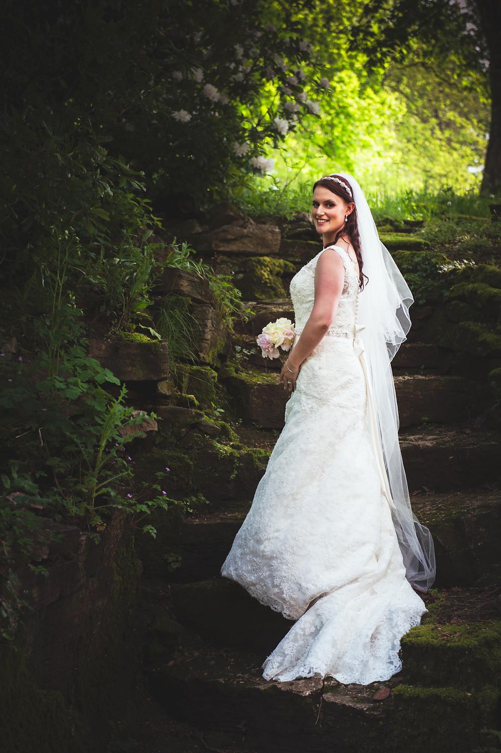 bride portrait on steps