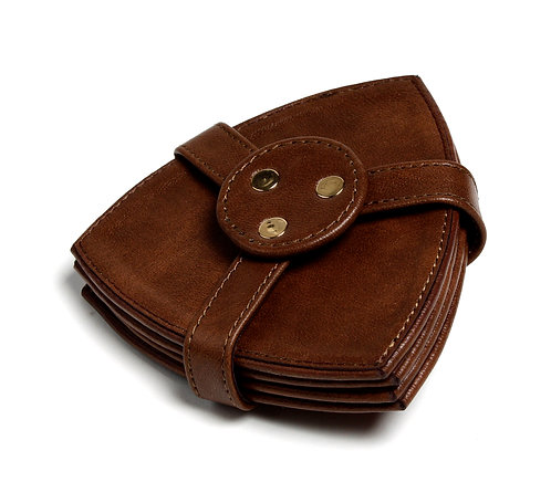 Natural brown faux leather coaster S/4