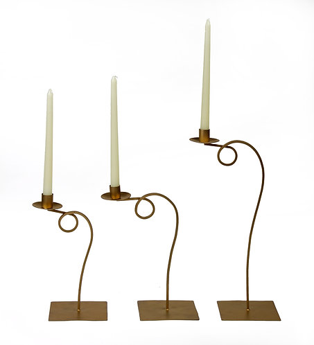Antique golden candle stand S/3