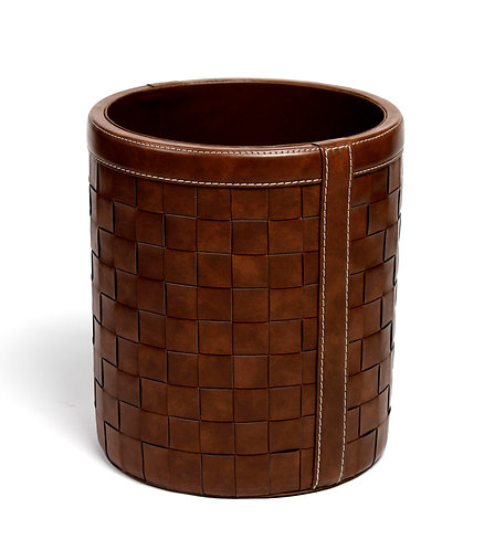 Woven dark leather bin basket