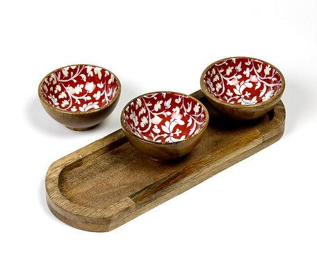 Wooden bowls platter