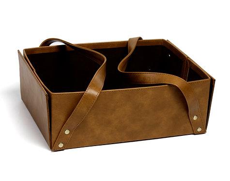 Tan leather strapey basket