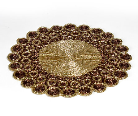 Golden embroidered table mat