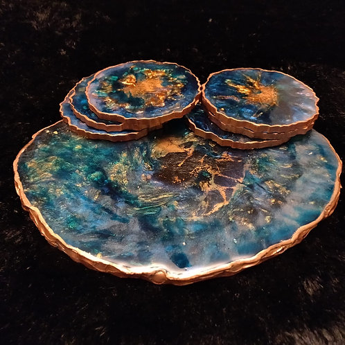 Peacock blue platter with coasters