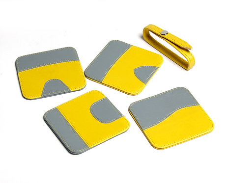 Yellow & Grey faux leather coasters S/4