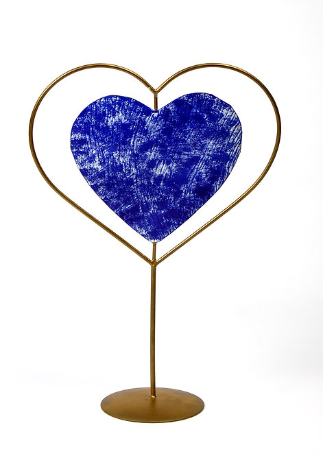 Golden and Blue heart table top decor