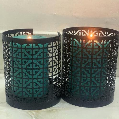 Grid metal candleholder S/2