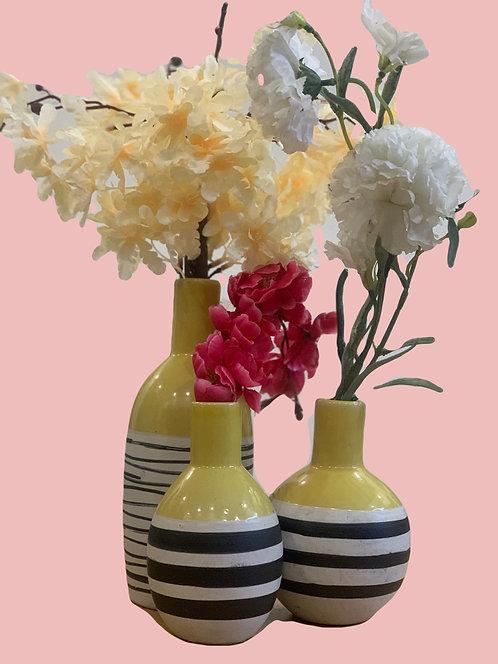 Striped ceramic vase S/3
