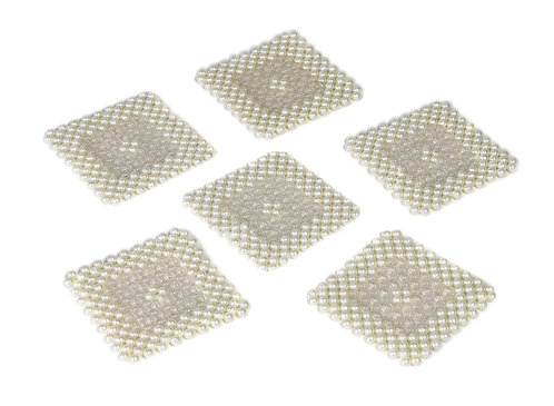 Pearl embroidered coaster S/6