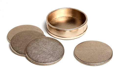 Rose gold faux leather coasters S/4