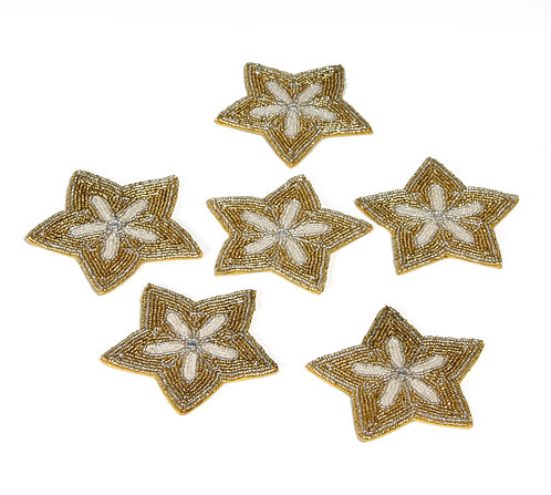 Pearl embroidered star coaster S/6