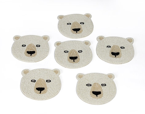 Pearl embroidered bear coaster S/6