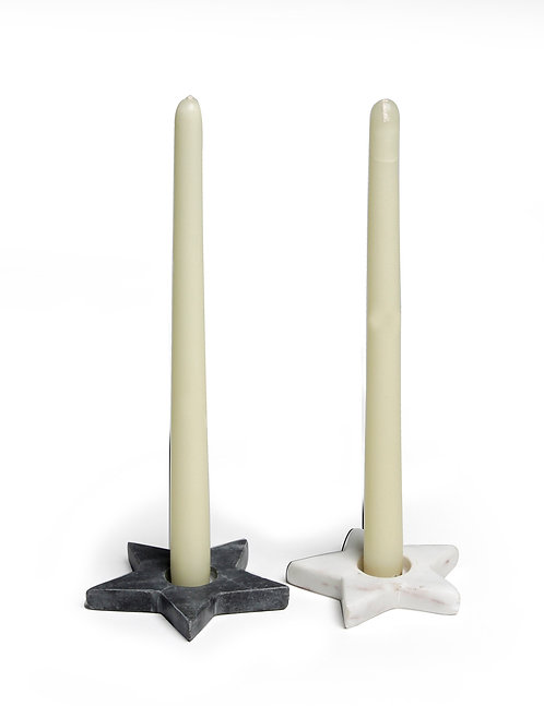 Marble star candle holder S/2