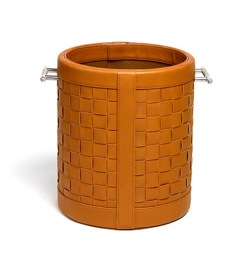 Woven tan leather bin basket