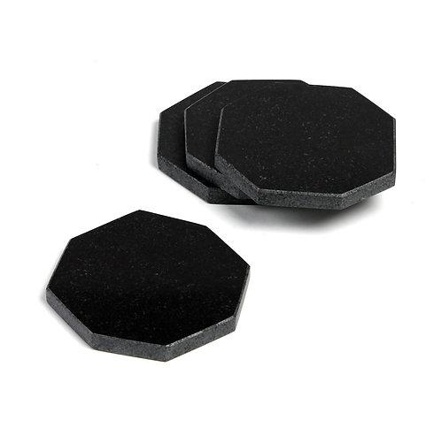 Black marble coasters S/4
