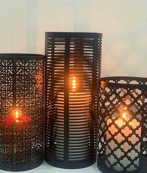 Grid metal candleholder S/3