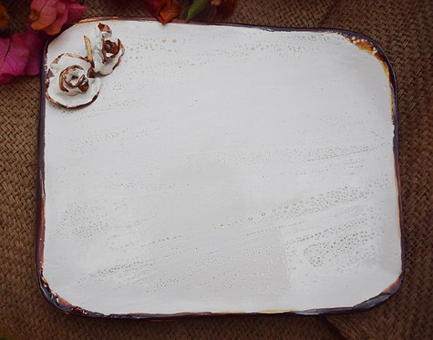 Flowered white platter