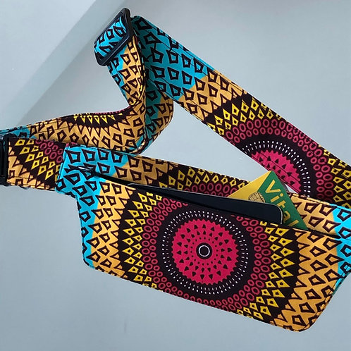 Belt bag extra flat, multi coloured, unisexe belt wax fabric, for forró or salsa dance, manufactured in Paris