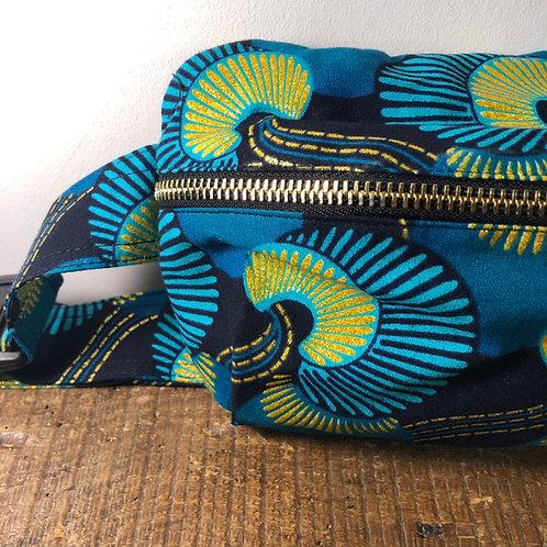 Belt bag, gold, green, blue, sequins, large size, belt wax fabric, manufactured in Paris, over-shoulder style