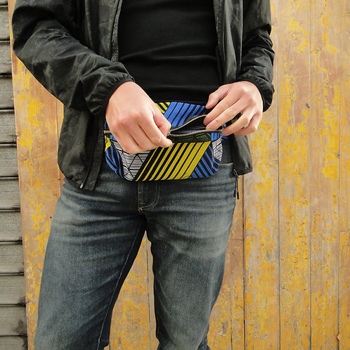Belt bag, blue, yellow, grey, large size, belt wax fabric, manufactured in Paris, over-shoulder style, unisexe